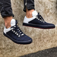 Pantofi sport pentru barbati, bleumarin cu alb, cu siret, design unic - two