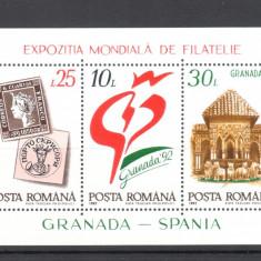 Expozitia Mondiala Filatelie Granada 1992, neuzata, MNH, ROMANIA LP 1283