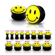 Plug negru pentru ureche cu un smiley galben - Lățime: 3 mm
