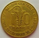 Moneda exotica 10 FRANCI - AFRICA de VEST, anul 1981 *cod 1014