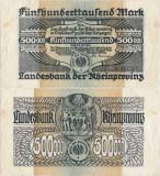 1923 (1 VIII), 500.000 mark (Grabowski RPR.12a-d) - Germania (Düsseldorf)!