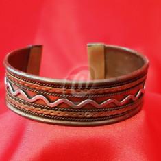 Bratara indiana din alama si cupru reglabila, 5.5 cm