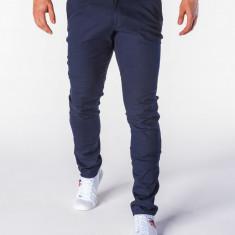 Pantaloni pentru barbati bleumarin casual slim fit elegant bumbac P631