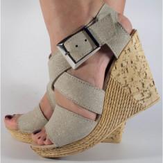 Sandale crem sidefat platforma piele naturala (cod SS04)