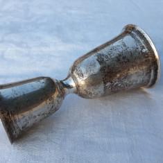 POCAL EVREIESC DUBLU argint KIDDUSH IUDAIC de colectie RAR patina MINUNATA vechi