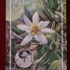 Medalie argint Floarea de colt - Fauna si flora Romaniei - tiraj 100 bucăți