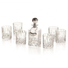 Whisky Set With Crystal Bottle Silver by Chinelli