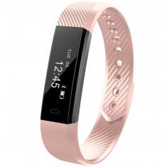 Bratara Fitness iUni ID115 Plus, Display OLED, Bluetooth, Pedometru, Monitorizare puls, Notificari, Android si iOS, Roz
