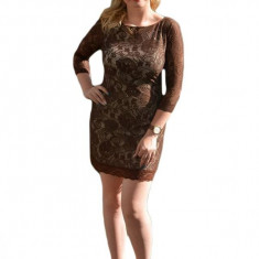 Rochie de ocazie din dantela maro cu captuseala bej, model scurt
