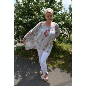 Bluza moderna de vara , cu imprimeu floral, nuanta de bej