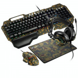 Cumpara ieftin Kit Gaming 4 in 1 Canyon Argama Tastatura Standard + Mouse Optic + Mouse Pad + Casti Military