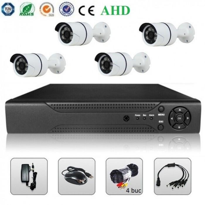 Sistem Supraveghere Video 2MP 4 Camere AHD & DVR Kit Exterior Interior