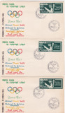 Romania Exil 1960 Olimpiada Roma,SET COMPLET 3 FDC DANTELAT, Istorie, Nestampilat