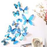 Fluturi decorativi 3D ( 12 buc/set ) albastru