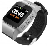 Ceas GPS Copii si Seniori iUni U100 Plus, Telefon incorporat, Display Color, Wi-fi, Buton SOS, Silver