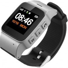 Ceas GPS Copii si Seniori iUni U100 Plus, Telefon incorporat, Display Color, Wi-fi, Buton SOS, Silver