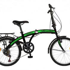 Bicicleta pliabila 20 Velors V2055A cadru otel negru verde