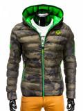 Geaca pentru barbati, camo-verde, de iarna cu gluga, cu fermoar, model slim - c207