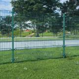 Panou gard cu stâlpi, verde 6x1,6 m, fier vopsit electrostatic