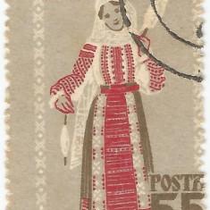 Romania, LP 462/1958, Costume nationale (dantelat), deplasare dantelura, oblit.