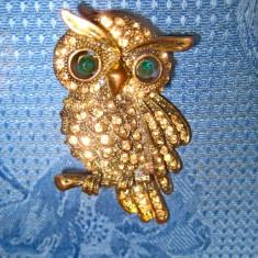 B177-Insigna Bufnita bronz veche cu ochi pietricele sticla verzi.
