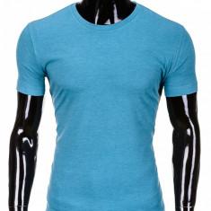 Tricou pentru barbati bleu simplu slim fit mulat pe corp bumbac S620
