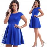 Rochie de ocazie scurta albastra cu corset din dantela cu paiete
