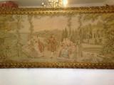 Tapiserie vintage/tablou, Italia, rama lemn sculptat manual/aurit, 2,14m, Oglinda, Baroc, 1900 - 1949