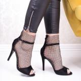Sandale dama negre cu toc Cantral