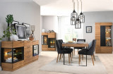 Set de mobila dining din lemn si furnir, 4 piese Mosaic Stejar / Negru