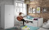 Cumpara ieftin Set Mobila dormitor din pal, pentru copii 2 piese Bonny Capitan Alb, 200 x 90 cm