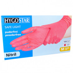 Cumpara ieftin Manusi nitril Safe Light marimea M, rosii, 100 bucati/cutie, nepudrate