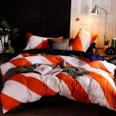 Lenjerie de pat din Bumbac alba cu dungi late portocalii HX 31, 230x250 cm, Set complet