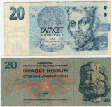 20 koroane Cehoslovacia 1970 -20 koroane Cehia 1994