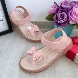 Cumpara ieftin Sandale roz comode moi cu fundita pt fete 31 32 33 35 36 cod 0781