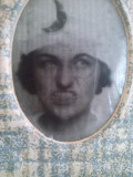Fotografie ,,holograma,, dubla ipostaza barbat femeie , veche ,peste 80 ani