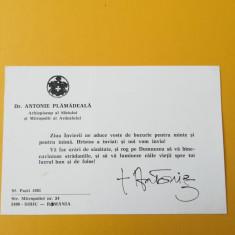 Carte de vizită cu autograf al Mitropolitului Antonie Plamădeală