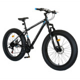 Cumpara ieftin Bicicleta MTB-Fat Bike, schimbator Shimano Tourney 21 Viteze, roti 26 inch, frane mecanice disc, Velors CSV26/19B, cadru negru cu design albastru/gri