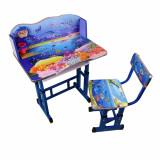 Set 2, Birou si scaun pentru copii, Metal+Pal, Albastru