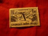 Serie- Campionat Mond. Sky -Chamonix 1937 Franta ,1val.stamp