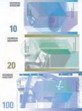 Bancnota Siemens Nixdorf 10, 20 si 100 - SPECIMEN ( 3 bancnote test ATM )
