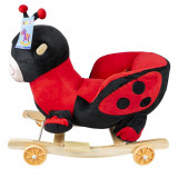 Balansoar pentru bebelusi, Buburuza, lemn + plus, cu rotile, China