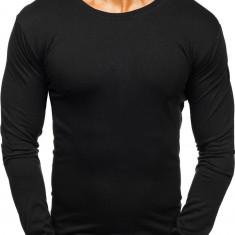 Long sleeve fără imprimeu pentru bărbat negru Bolf 2088L