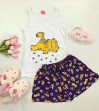 Pijama dama ieftina din bumbac cu pantaloni scurti si maieu alb cu imprimeu lenes