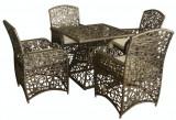 Set mobilier gradina,terasa RIMINI din ratan 5 piese masa patrata si 4 scaune cu brate Raki