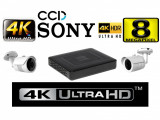 Cumpara ieftin Kit profesional 2 camere supraveghere 4K 8MP CCD Sony Starvis + DVR 4 canale 4K 8MP P2P