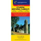 Harta rutiera Ethiopia, Erithrea, Djibouti |