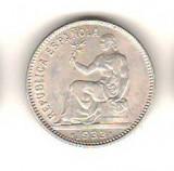 SV * Republica  Spania   UNA  PESETA  1933  *  ARGINT .900       AUNC
