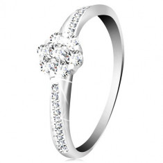 Inel din aur alb 14K - floare lucioase și zirconii transparente, brațe decorate - Marime inel: 58