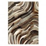 Cumpara ieftin Covor piele cu păr natural, mozaic, gri/argintiu, 80 x 150 cm